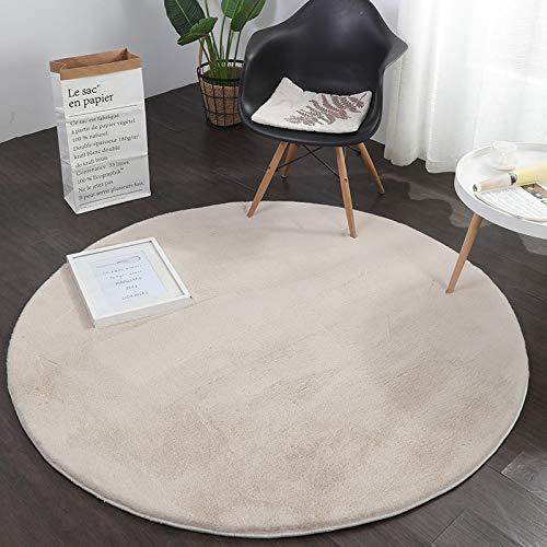 VIMODA Fellteppich Kunstfell Teppich Rund Imitat in Grau Dicht Flauschig Seidiger Glanz Hochflor (Ø 120 cm Rund, Beige)
