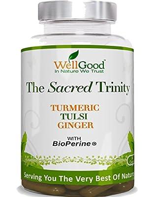 Turmeric , Holy Basil , Ginger Root plus Bioperine - 90 vegan Capsules - Super Blend - Vegan Friendly - by WellGood from wellgood