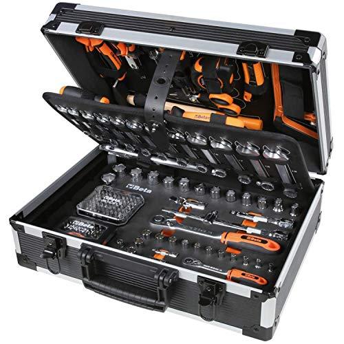 BETA 2056E/I-20 Koffer Aluminium-Werkzeugkoffer Werkzeug-Set für allgemeine Instandhaltungsarbeiten (163-teiliges Werkzeugsortiment, höchst widerstandsfähig, Made in Italy), Schwarz