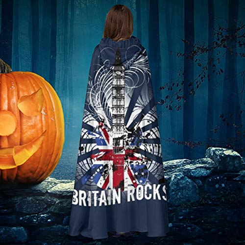NULLYTG British Rocks Big Ben Guitar - Disfraz de Bruja de Halloween con Capucha para Disfraz de Vampiro