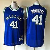 Camiseta De Baloncesto para Hombre, NBA Dallas Mavericks # 41 Dirk Nowitzki, Camiseta De Fans Camiseta De Malla Transpirable Sin Mangas con Cuello Redondo Suelto Camiseta,Azul,XL(180~185cm)