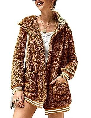 LOMON Jacket for Women Oversized Faux Fur Outwear with Pockets Coat Striped Fleece Fuzzy Cardigan Winter(Khaki,XL)