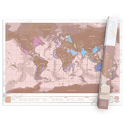 Carte du Monde à Gratter Rose Dorée, Mappemonde...