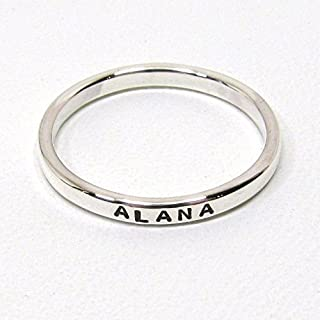 Personalized Sterling Silver Stacking Ring - 2.4 mm wide