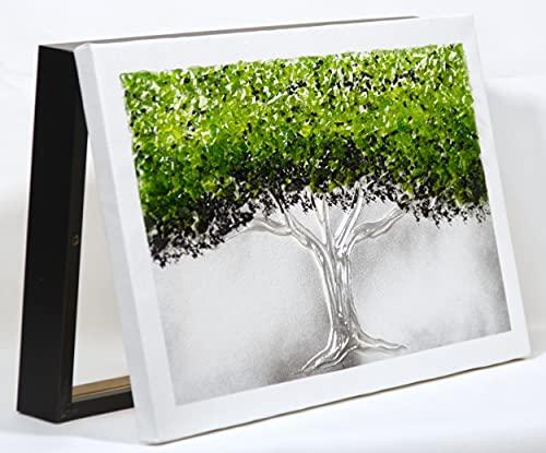 Cuadroexpres - Tapa de Contador Árbol de la Vida Verde 22x37x4 cm (Interior) Caja Decorativa para el Cuadro de Luces. En Melamina Negra. Fácil de Colocar.