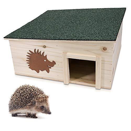 Navaris Igelhaus Igelhäuschen Hütte für Igel - Sommer- und Winterquartier - Holzhäuschen für den Garten - wetterfest Winterfest katzensicher