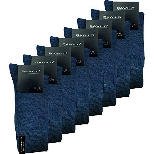 GAWILO Herren Socken aus 100% Baumwolle (8er-Pack) ohne drückende Naht - Komfortbund (39-42, blau)