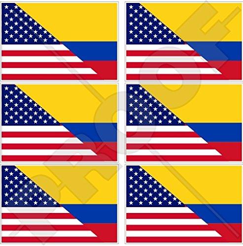 Lot de 6 mini autocollants en vinyle pour téléphone portable Motif drapeau américain et colombien 40 mm