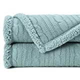 Chanasya Mint Green Soft Cable Knit Throw Blanket - Fluffy Sherpa Plush Thick Warm Lightweight Cozy Modern Sage Green Knitted Blankets - for Sofa Couch Living Room and Bed Room (50x65 Inches) - Mint