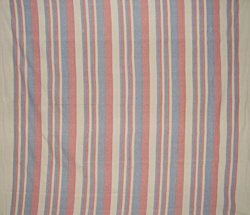 "Homestead Heavy Cotton Ribbed Bedspread 98"" x 88"" Full Red & Blue on Beige"