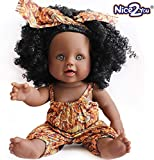 Nice2you Poupée Afro-américaine réalistes 12 Pouces bébé poupées pour Enfants Jouets pour Enfants (Marron)