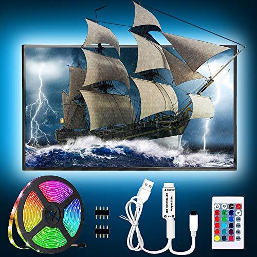 Striscia Led USB 2m Retroilluminazione TV Nastri Led - Dimmerabile, Impermeabile, 60 LED RGB 5050 Striscia Multicolore Led Illuminazione con Telecomando, per HDTV, schermo PC, Letto,Campeggio,Tenda