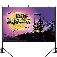 ハロウィーンナイトムーンスパイダーフォレストキャッスルバット写真の背景カスタム写真の背景写真の背景子テーマパーティーの装飾用品写真ブース背景バナー10x7ft