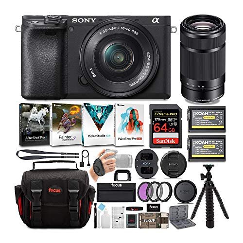 Sony a6400 Mirrorless Digital Camera Bundle : 16-50mm Lens, 55-210mm Lens, 64 GB SDXC Card, Filter Kit, Batteries, USB Charger, Corel Photo Suite, Messenger Bag, and Flex Tripod Bundle (9 Items)