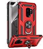 Samsung Galaxy S9 Case with HD Screen Protectors, Androgate Military-Grade Metal Ring Holder Kickstand 15ft Drop Tested Shockproof Cover Case for Samsung Galaxy S9 (2018) Red