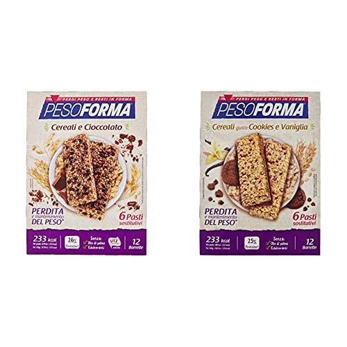 Pesoforma Barrette Cereali Croccanti e Cioccolato, Pasti Sostitutivi Dimagranti, Ricco in Proteine - 12 x 31 g + Barrette Cereali Croccanti Gusto Cookies e Vaniglia - 12 x 31 g