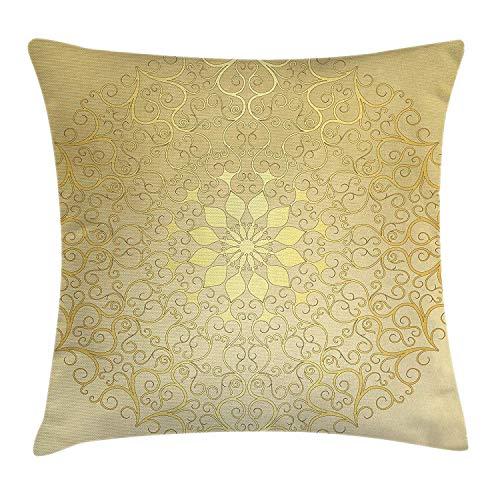 Butlerame Mandala Throw Pillow Cover, Motivo Antiguo Redondo, Curvo, estilizado, ornamentado en Forma de corazón, influencias arabescas, 18 x 18 Pulgadas, Amarillo Amarillo pálido