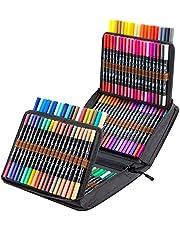 120 kolorowych flamastrów akwarelowych markerów, Ohuhu pisaki do farb akwarelowych z podwójną końcówką akwarelową cienką końcówką pisaki artystyczne z cienkopisami
