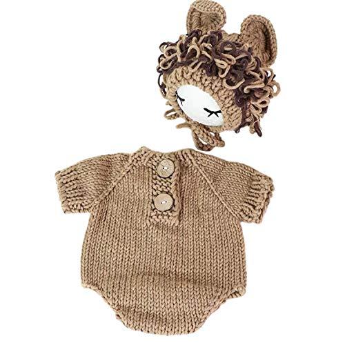 Pasgeboren baby foto rekwisieten gehaakte leeuw kostuum Sets voor jongens meisjes Baby fotografie rekwisieten BRON