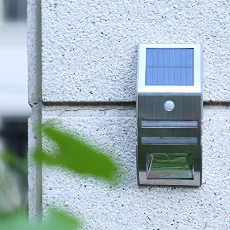 Leuchte Moderne und einfache Solar Outdoor Wasserdichte LED Garten Garten Wandleuchte (Farbe   Silber-Warmes weies Licht)