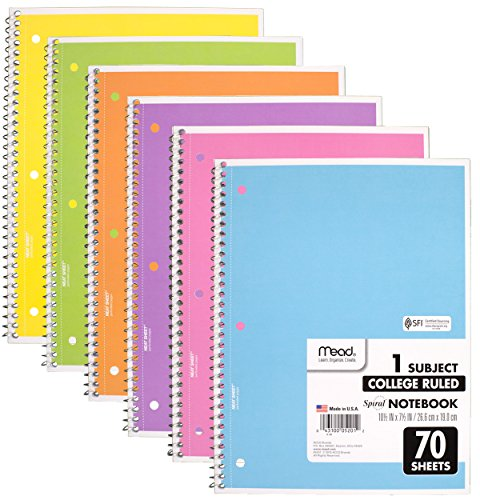 Mead Spiral Notebook, 6 Pack of 1-Subject College Ruled Spiral Bound Notebooks, Pastel Color Cute school Notebooks, 70 Pages