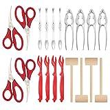 Brynnl Juego de 20 herramientas para mariscos, langosta, cangrejo, pinzas para langosta, que incluyen tijeras, pinzas para cangrejo, tenedores para pelar langosta, tenedores y martillo para 4 personas