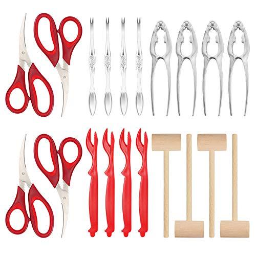 Brynnl 20 STKS Zeevruchten Tool Set kreeft Crab Cracker kreeft tang inclusief schaar, krab tangen, kreeft schiller vorken, vorken en hamer voor 4 personen