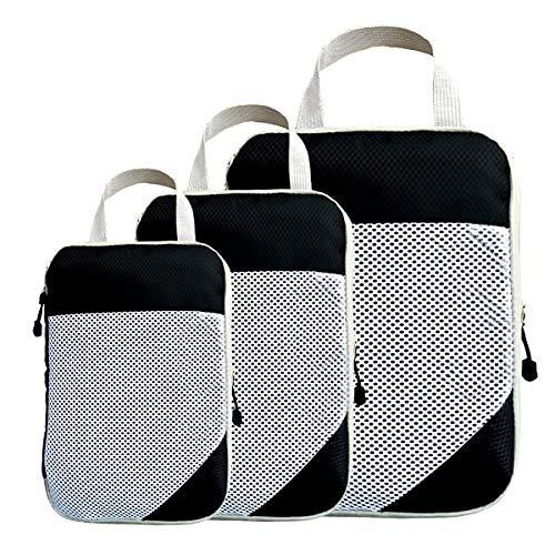 YITRANIC 圧縮袋 旅行 3点セット 超便利 超大容量 ファスナー圧縮で衣類スペース60%節約 旅行用便利グッズ 防水 軽量 出張 トラベルポーチ 圧縮バッグ