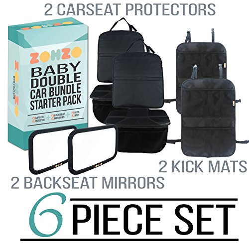 Zohzo Double Baby Car Bundle - Car Seat Protector Cover, Baby Car Mirror, Kick Mat Organizer for Baby Shower, New Infants, and Rear Facing Car Seats