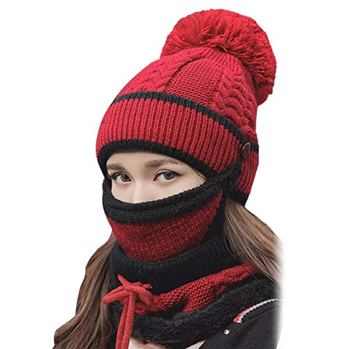 LOadSEcr Winter Hat Scarf Set, Warm Winter Beanie Hat, Winter Scarf, 3Pcs Riding Hats Knitted Lace Up Scarf Winter Riding Hats for Women Brick Red