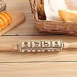 Mattarello in rilievo, motivo floreale in legno inciso al laser, mattarello fai da te per biscotti fatti in casa o Natale goffratura alce
