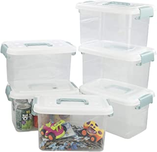 Kiddream 6-pack Clear Storage Box Bin With Lid And Handle, 5.5 Liter