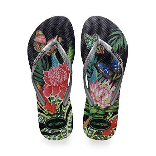 Havaianas Women's Slim Tropical Flip Flop Sandal, Black/Graphite, 11/12 M US