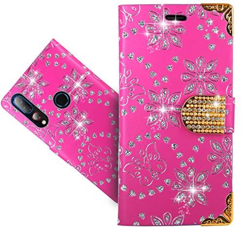 HülleExpert HTC Desire 19+ Handy Tasche, Wallet Hülle Cover Flower Bling Diamond Hüllen Etui Hülle Ledertasche Lederhülle Schutzhülle Für HTC Desire 19+ / Desire 19 Plus
