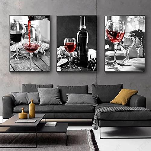 Vino Tinto Y Botella Cartel De Cocina E Impresiones Bebida Comida Lienzo Pintura Imagen De Arte De Pared Hd Comedor Restaurante DecoracióN 30x50cmx3 Sin Marco