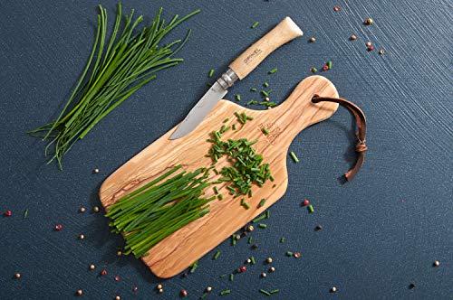 Berard 54072, Planche à découper et présentation apéritif en bois d'olivier fait main - 29 cm avec manche