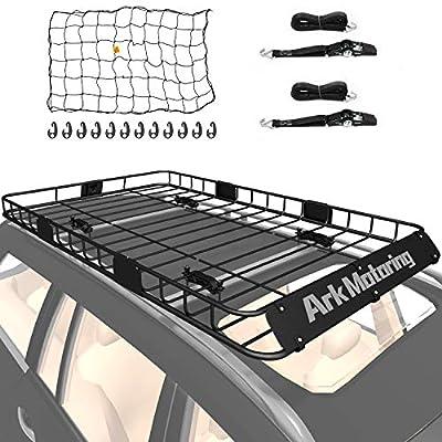 "Ark Motoring Roof Rack, 64""x 39"" Rooftop Basket Cargo Carrier with Rack Extension, Tie Down Strap and Net, Black Steel"