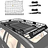 Ark Motoring Roof Rack, 64'x 39' Rooftop Basket Cargo Carrier with Rack Extension, Tie Down Strap and Net, Black Steel