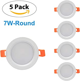 WEDO 7W LED Recessed Panel Light 630Lm Round Ceiling Lamp Not Dimmable Cut Hole 2.95in Warm White 3200K Home Office Commercial Lighting Pack of 5