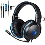 SADES Gaming Headset for PS4, Xbox One, Nintendo Switch, PC, PS3, Mac, Laptop, Over Ear Headphones PS4 Headset Xbox One Headset with Surround Sound (Black blue-717)
