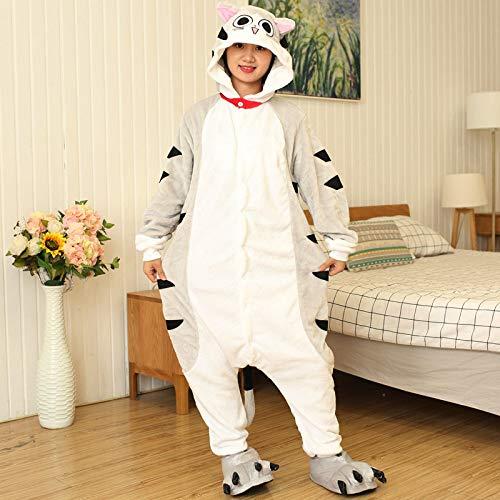 Mujer Hombre Animal Pijamas,Ladies Cat Onesies Pijama Franela Gris Homewear Anime Cosplay Disfraz Ropa De Dormir Animal para Pareja Regalo para Adultos Fiestas De Uso Diario, S: Adecuado para Altura