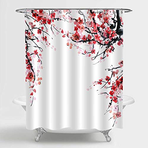 """MitoVilla Red Plum Floral Shower Curtain Set with Hooks, Asian Traditonal Watercolor Plum Blossom Painting Bathroom Decor for Women and Girls Gifts, Red, Black, 72"""" W x 78"""" L Bathroom Accessories"""