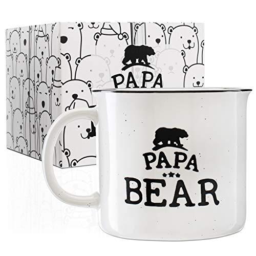 Papa Bear Stoneware Engraved Campfire Ceramic Mug - White - 15 oz, Father's Day Gifts - Retro Coffee Mug for Dad Gifts Tea Cup