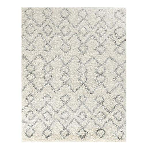 Wyatt & Ash Ivory/Light Gray 3.25 ft. x 5 ft. Tribal Stripes Shag Area Rug