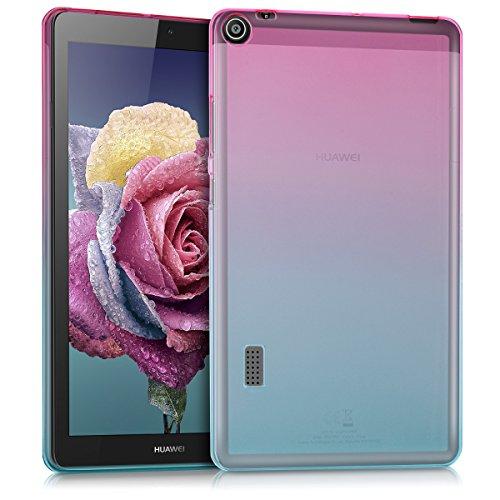 kwmobile Cover Compatibile con Huawei MediaPad T3 7.0 - Custodia Tablet in Silicone TPU - Copertina Protettiva Tab - Backcover - 2 Colori Fucsia/Blu/Trasparente