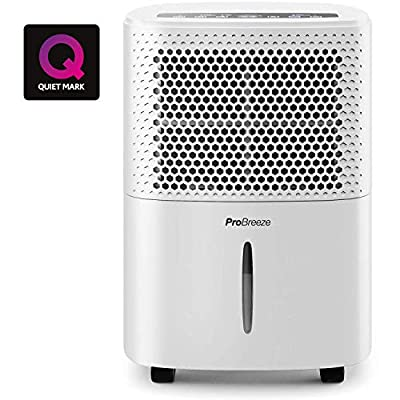 Pro Breeze 12L/Day Dehumidifier with Digital Humidity Display, Sleep Mode, Continuous Drainage, Laundry Drying and 24 Hour Timer - Ideal for Damp and Condensation, Quiet Mark Certified