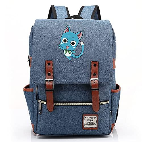 Hydxsjh Fairy Tail Mochila para Portátil De 16 Pulgadas Vintage para Portátil Anime Backpack Cartoon Animation,F