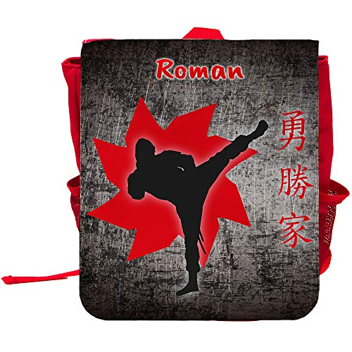 Kinder-Rucksack mit Namen Roman und Ninja-Motiv für Jungen | Rucksack | Backpack