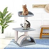 ScratchMe PTFURNTREE3P32GREYVGE - Albero tiragraffi per gatti, casetta per giochi per gatti e torre con giocattoli per gatti, corda in sisal, 62 cm, grigio