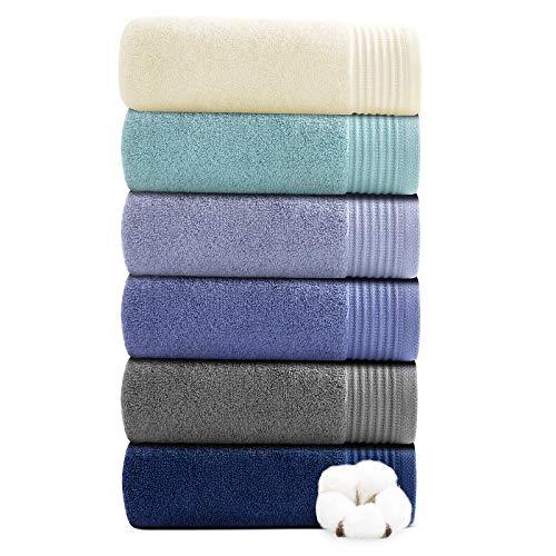 Juego de 6 toallas de mano para baño, 100% algodón puro, absorbentes, ultrasuave, gruesas, lujosas, para el cuerpo, invitados, peluquería, 2 colores (40 x 70 cm)